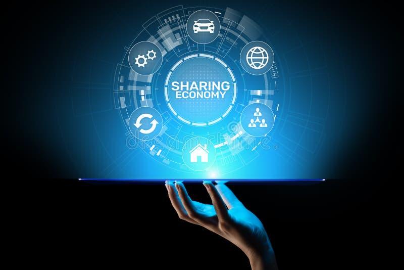 分享经济、创新和未来企业在虚屏上的技术概念 图库摄影