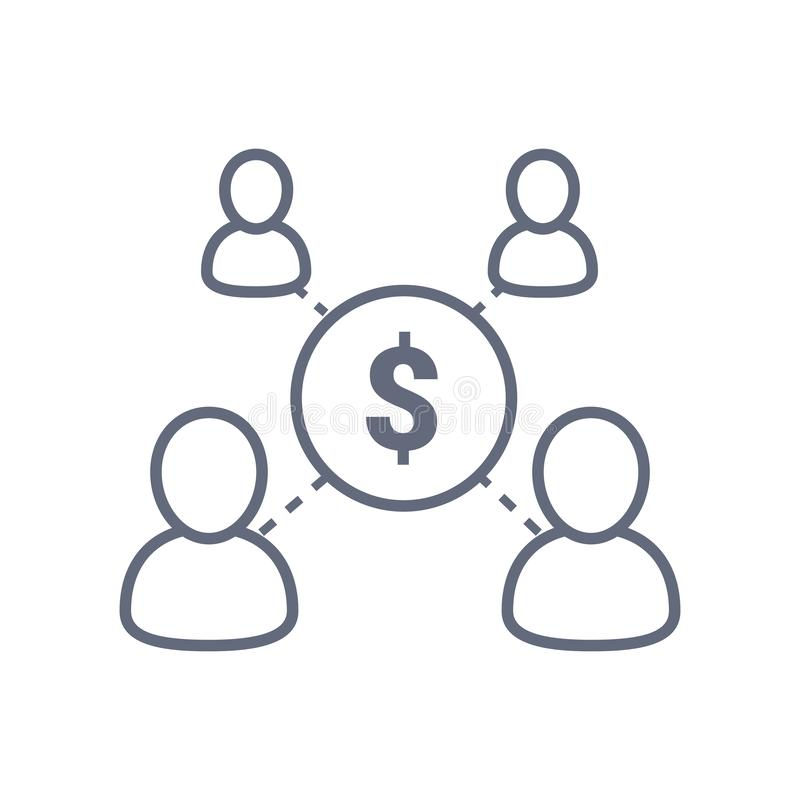 分享经济概念,财务管理,基金,公司服务,新的商业投资,人群源头 皇族释放例证