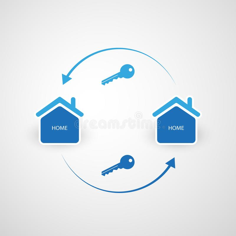 分享经济-家庭租赁或对等适应设计观念 向量例证