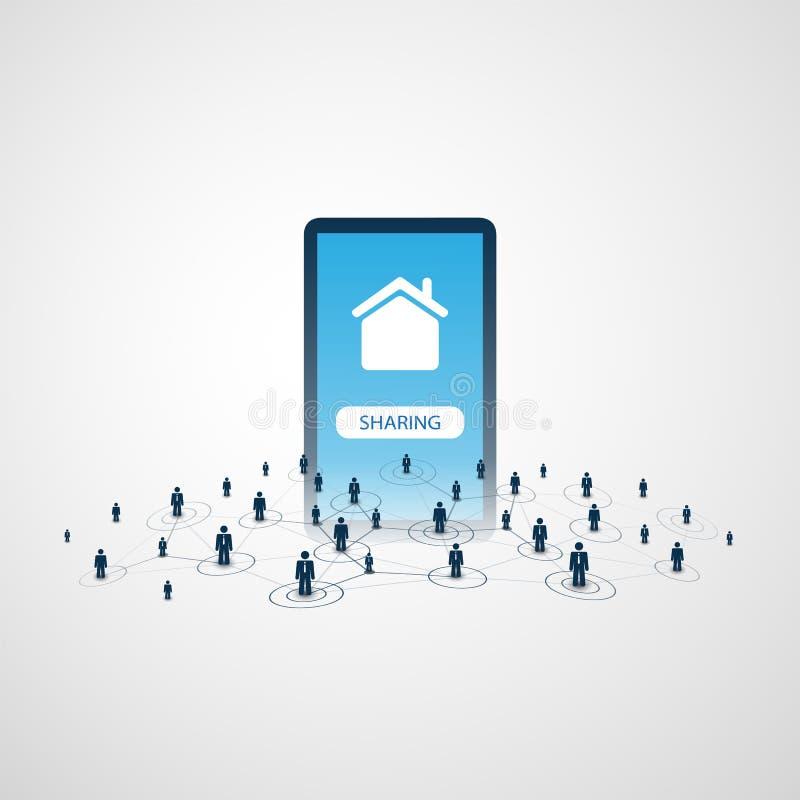 分享经济-家庭租赁或对等适应设计观念 皇族释放例证