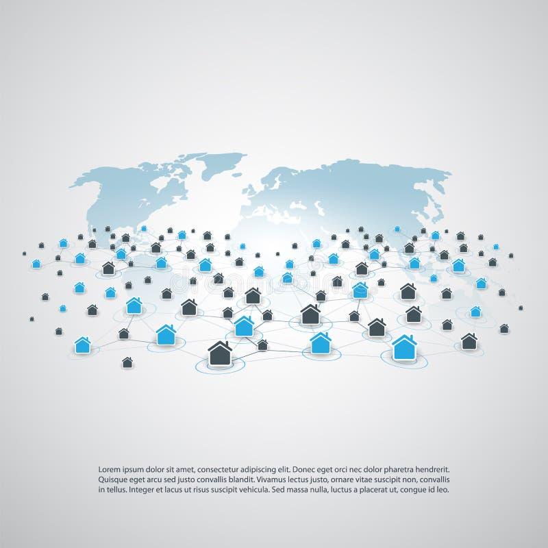 分享经济-家庭租赁,对等适应或者聪明的家庭网络设计概念 皇族释放例证