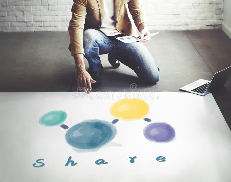 分享连接的网络社会媒介概念的份额 库存图片