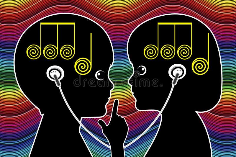 分享音乐的孩子 库存例证