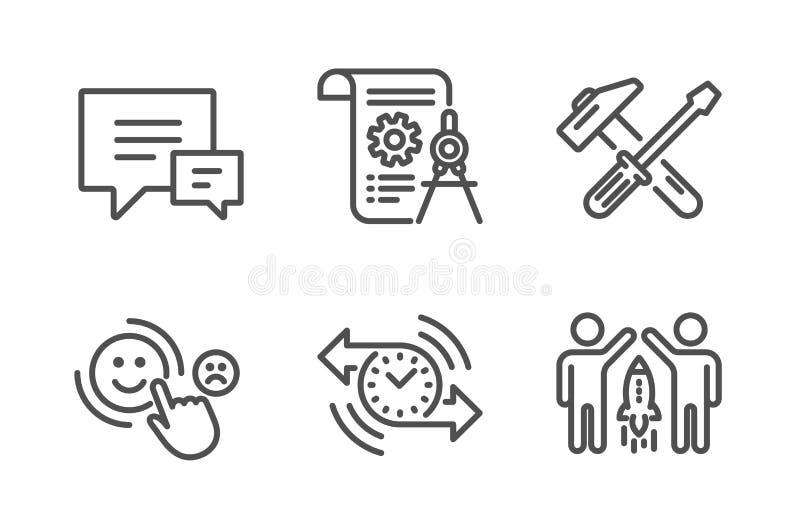 分切器文件、用户满意和锤子工具象集合 定时器、评论和合作标志 ?? 库存例证