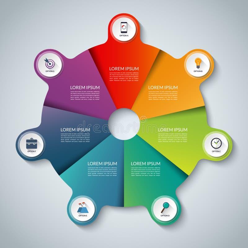 分别地层状的单元文件infographic导航 圈子与7个选择的企业模板 皇族释放例证
