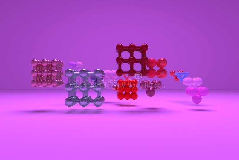 分子样式concepture被连结的正方形或金字塔 对图形设计或背景,真正几何 3d回报 库存例证