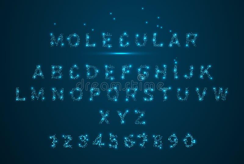 分子神经系统氖的Alfabet 3d概念 低多wireframe例证样式 传染媒介多角形图象 库存例证
