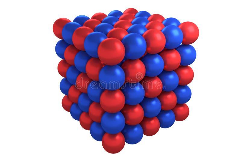 分子立方体晶体结构 库存例证
