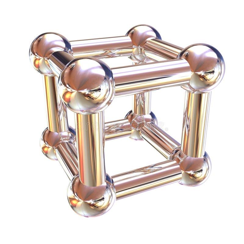 分子结构化学式和模型  皇族释放例证