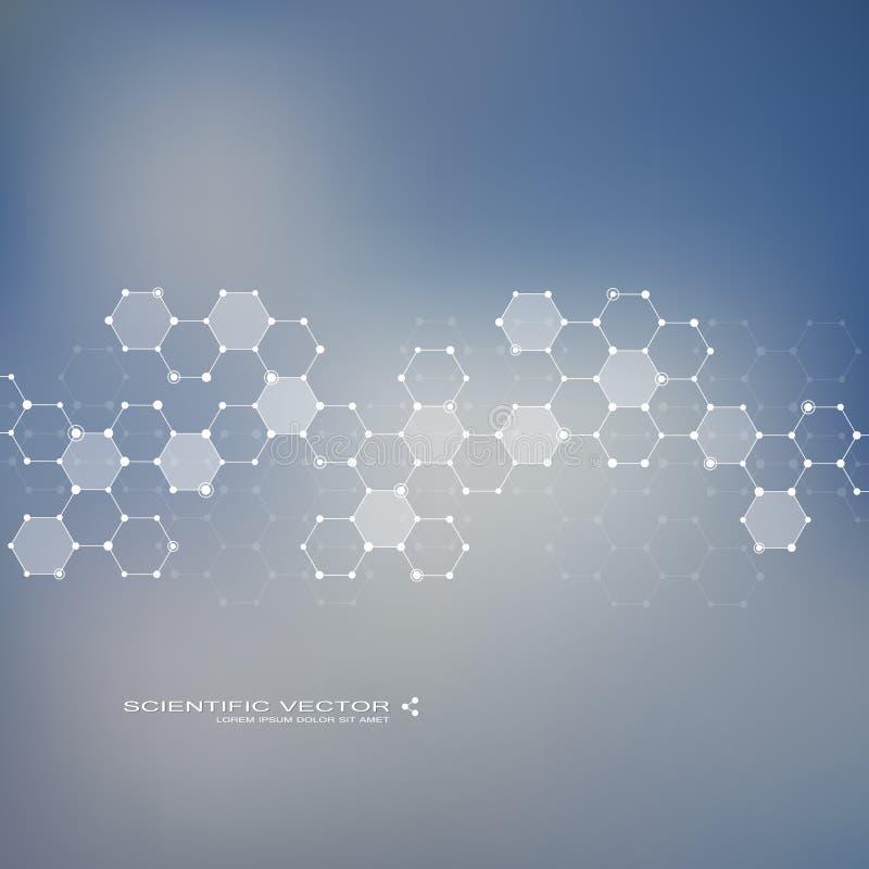 分子脱氧核糖核酸和神经元传染媒介 分子结构 与小点的被连接的线 基因化合物 化学 向量例证
