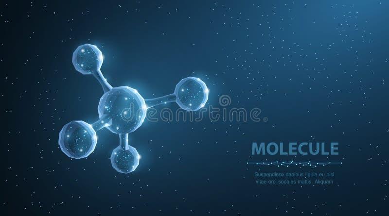 分子 与球形的抽象未来派微分子结构在蓝色背景 皇族释放例证