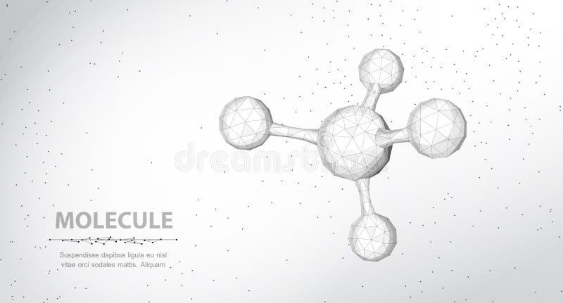 分子 与球形的抽象未来派wireframe 3d微分子结构 向量例证