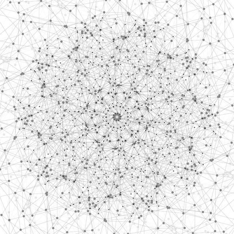 分子结构、分子建筑有被连接的线的和小点,科学或者数字式设计样式在白色 向量例证