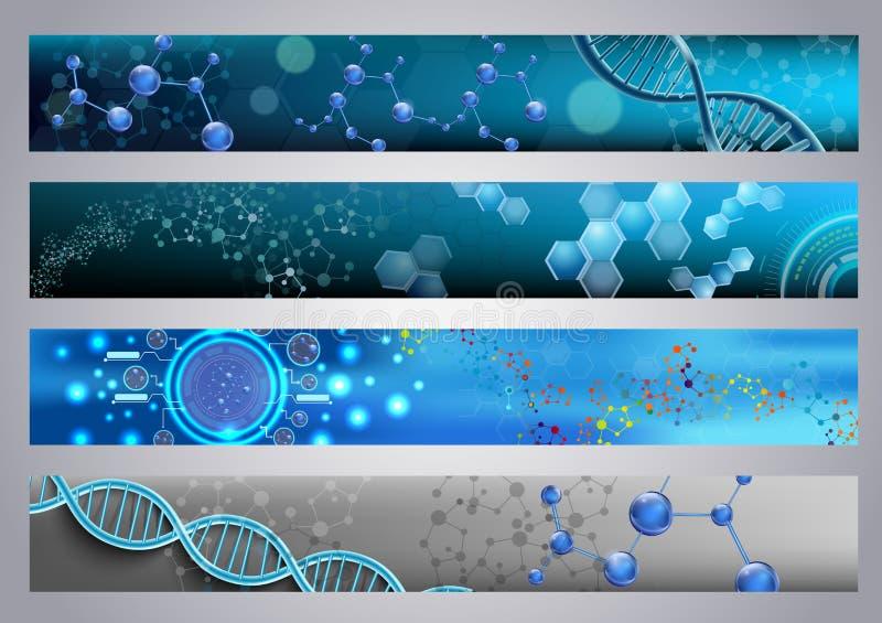 分子结构和脱氧核糖核酸横幅背景 皇族释放例证