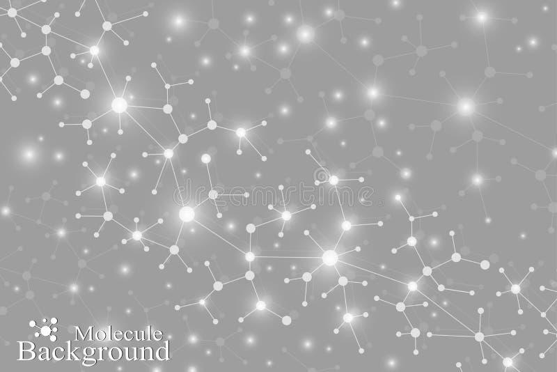 分子结构脱氧核糖核酸和灰色通信背景 与小点的被连接的线 科学的概念,连接 皇族释放例证