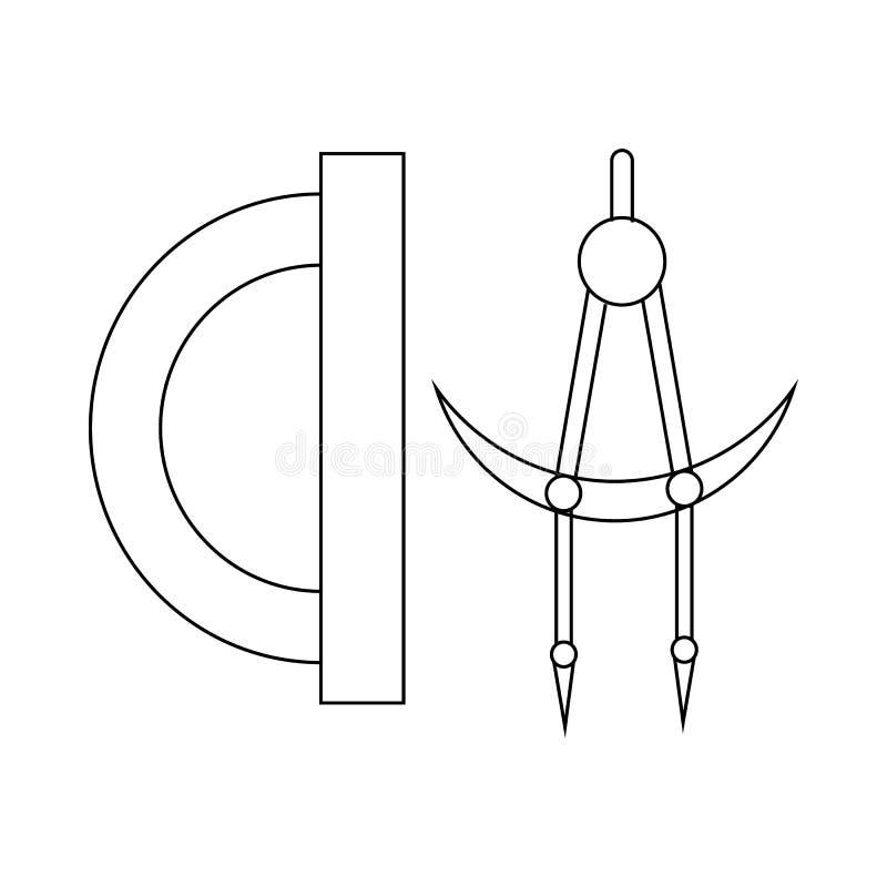 分度器和指南针用工具加工象,概述样式 向量例证