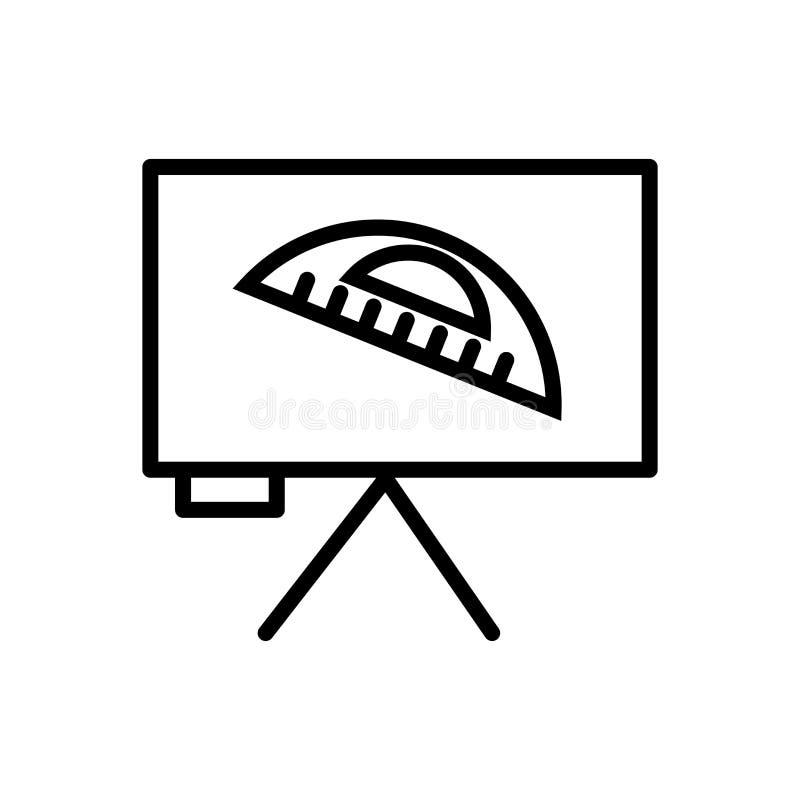 分度器在白色背景、分度器标志、线和概述元素隔绝的象传染媒介在线性样式 向量例证