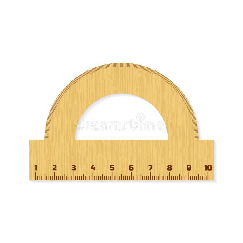 分度器 木统治者 评定的仪器 也corel凹道例证向量 库存例证