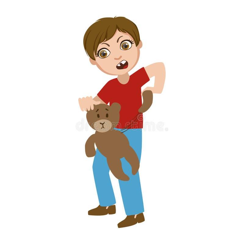 分开剥去玩具熊,一部分的男孩的坏哄骗行为并且胁迫传染媒介例证系列与是的字符的 库存例证