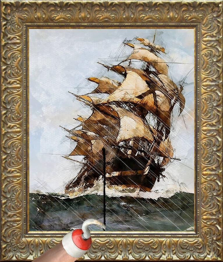 分开撕毁绘画的被钩的海盗手,绘船航行在风暴期间海上 库存照片