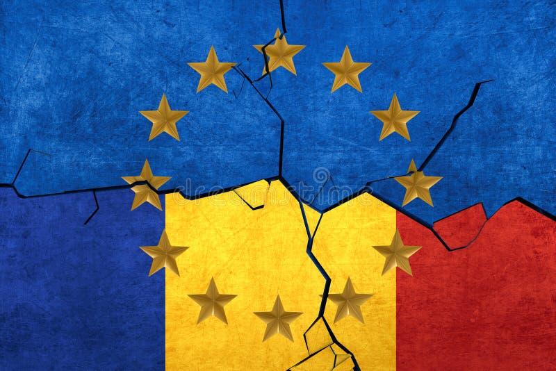 分开欧盟和罗马尼亚的旗子 皇族释放例证