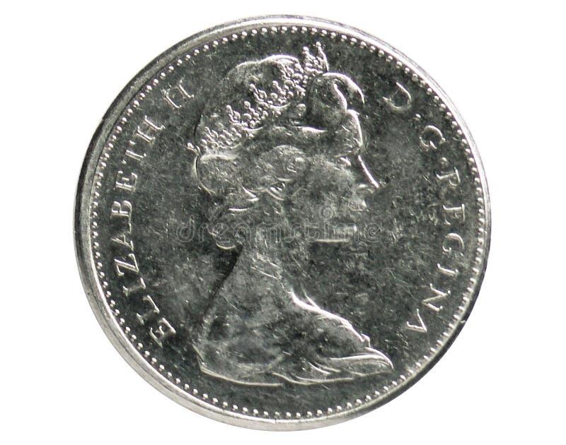 5分慢慢移动硬币,1952~Today -伊丽莎白二世serie,加拿大中央银行 免版税库存照片