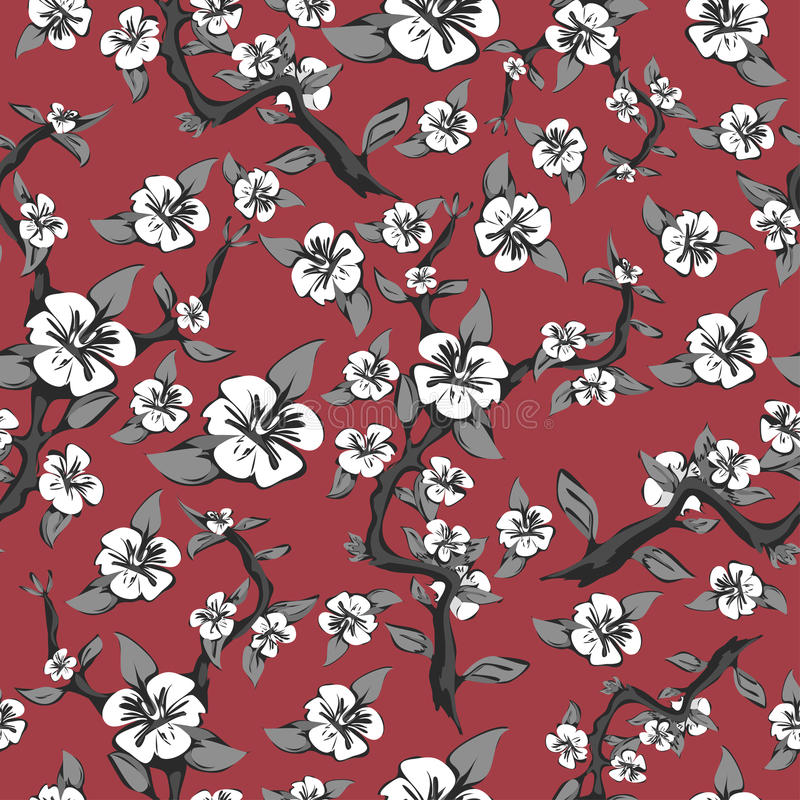 分支和白花的无缝的样式在桃红色背景 在黑白的抽象开花的苹果树 库存例证