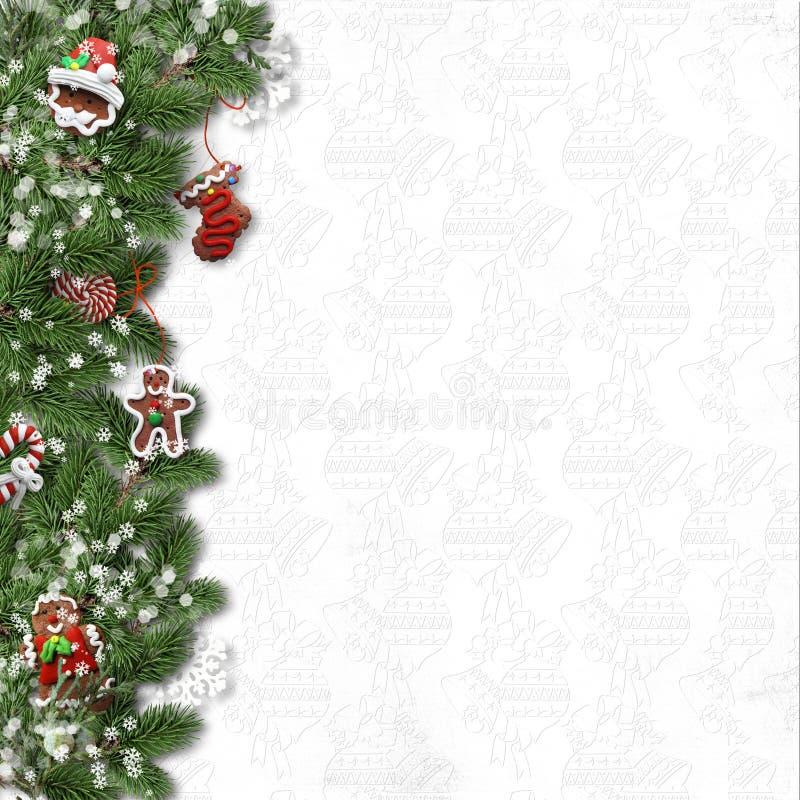 分支圣诞节曲奇饼冷杉 装饰的边界 向量例证