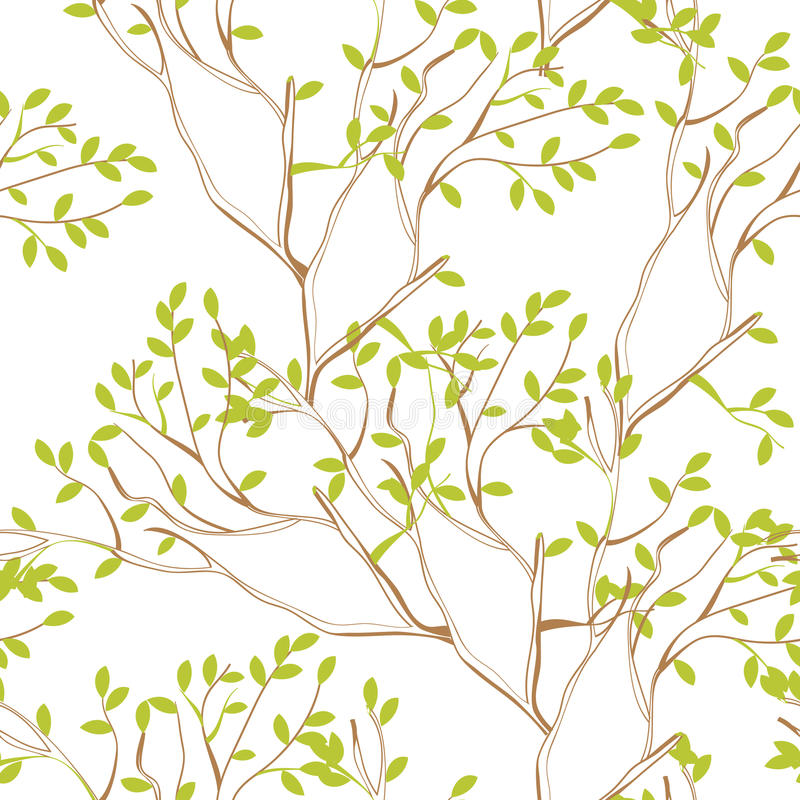 分支无缝的结构树墙纸 库存例证