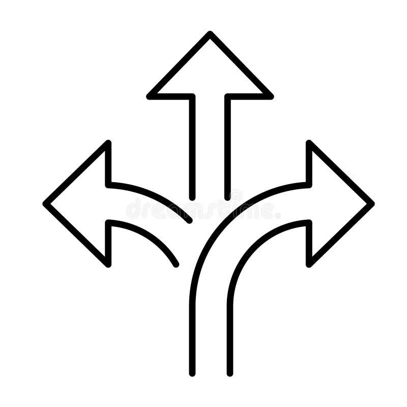 分支的箭头平的传染媒介象 箭头使平的传染媒介象成三倍 免版税图库摄影