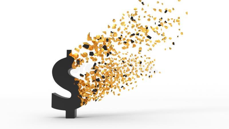 分散与风, 3d的破碎的美元的符号例证 库存例证