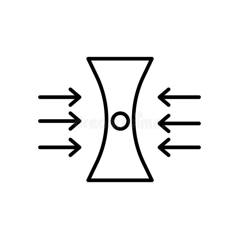 分散作用在白色背景、分散作用标志、标志和标志隔绝的象传染媒介在稀薄的线性概述样式 库存例证