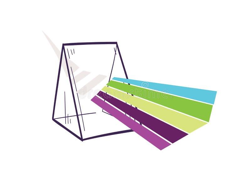 分散光束或彩虹的三棱柱 手拉的光学实验室设备或光学实验室工具为 皇族释放例证