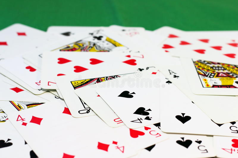 分散的卡片组 库存照片