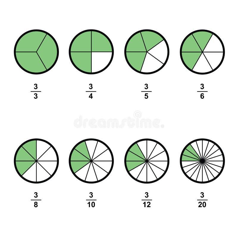 分数数学简化在白色背景传染媒介的分数计算器分数 皇族释放例证