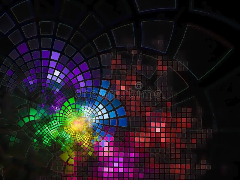 分数维抽象数字式流程发光的电子摘要技术使数字式,迪斯科,事务,广告, 库存照片