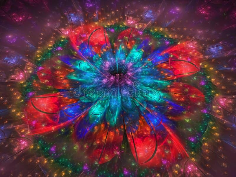 分数维抽象样式,美丽的纹理装饰品图表柳条制品创造性的卷毛花五颜六色的精美广告 皇族释放例证
