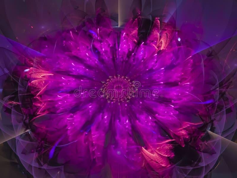 分数维抽象能量,五颜六色的数字式创造性花创造性的未来派亮光启发的样式,样式,艺术品 向量例证