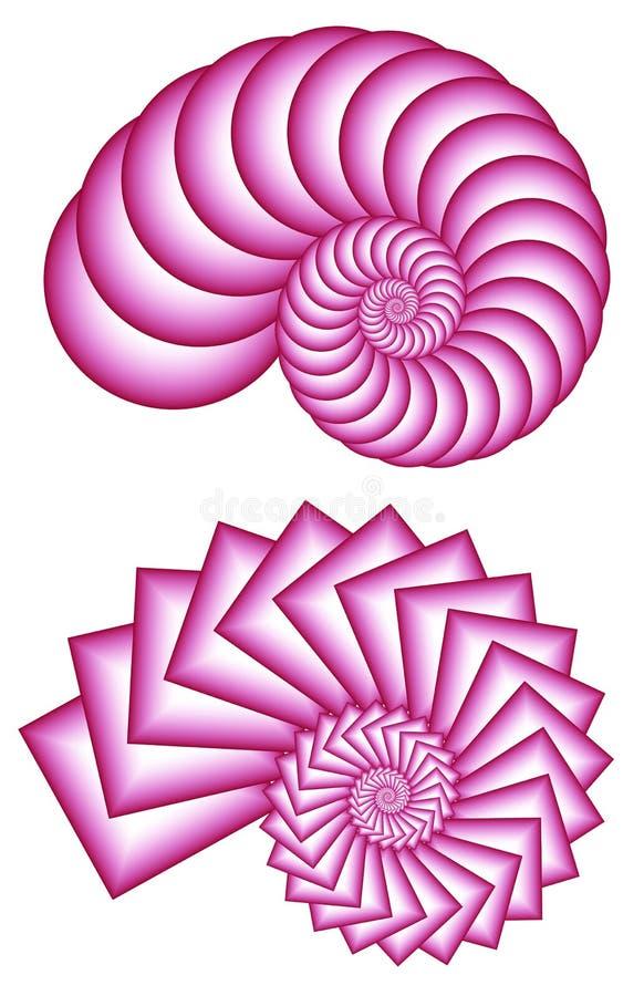 分数维桃红色螺旋二 皇族释放例证