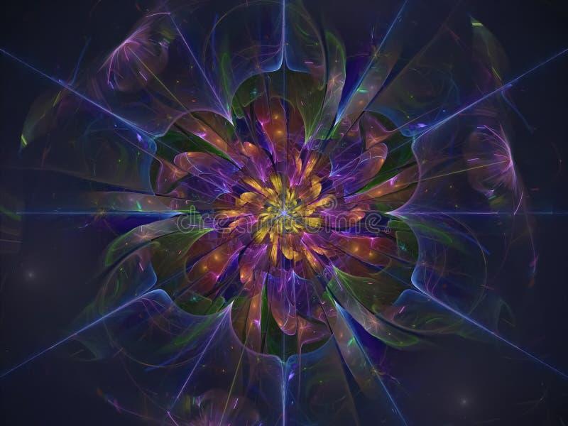 分数维花美丽的透明开花不可思议意想不到背景发光 库存例证
