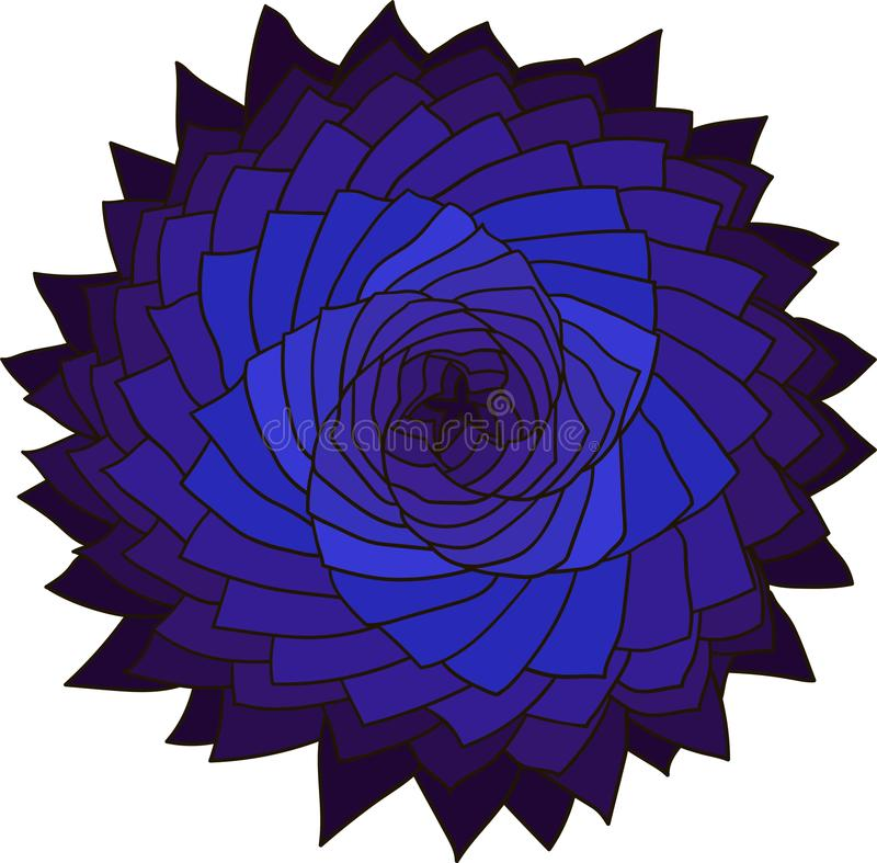 分数维蓝色花 玫瑰色向量 抽象星设计元素 向量例证