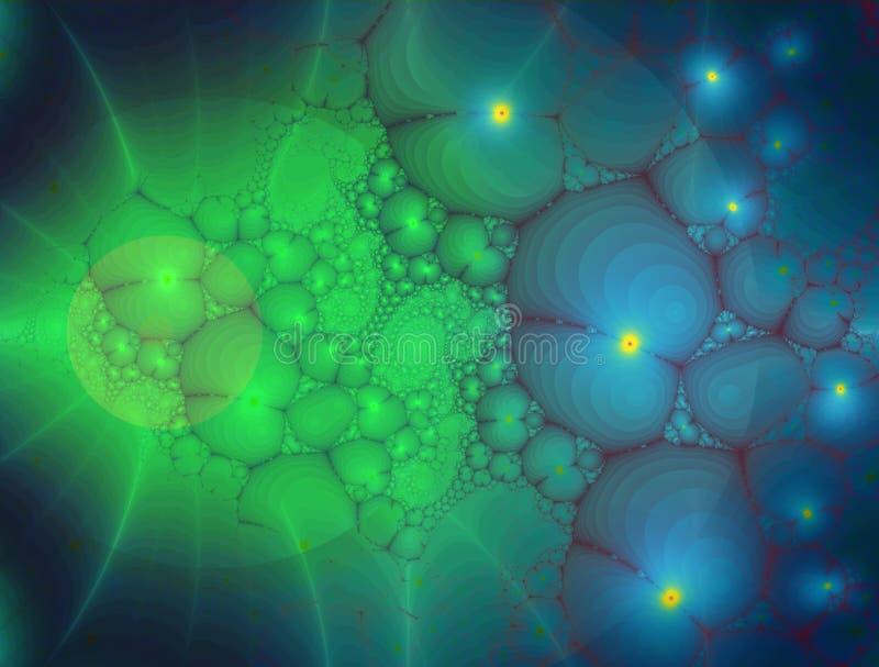 分数维:在蓝色和绿色的发光的有机形状 皇族释放例证