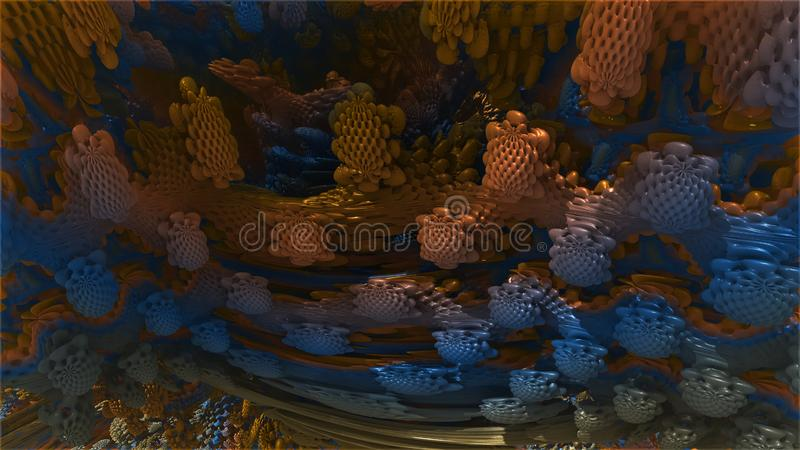 分数维3d 抽象计算机生成的分数维设计 向量例证