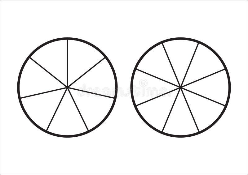 分数饼被划分成切片 网站介绍盖子海报平的概述象的Fractions向量例证