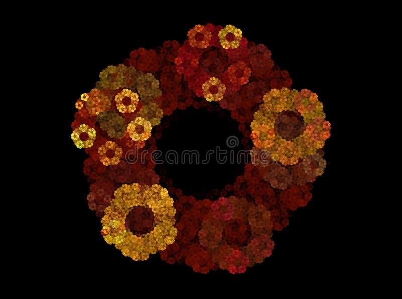 分数维,在黑背景的抽象秋天花圈 免版税库存图片