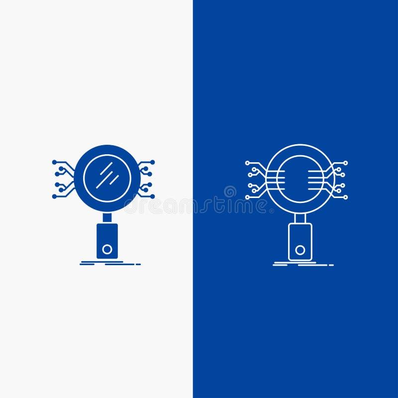 分析、查寻、信息、研究、安全线和纵的沟纹在蓝色垂直的横幅的网按钮UI和UX的,网站 皇族释放例证