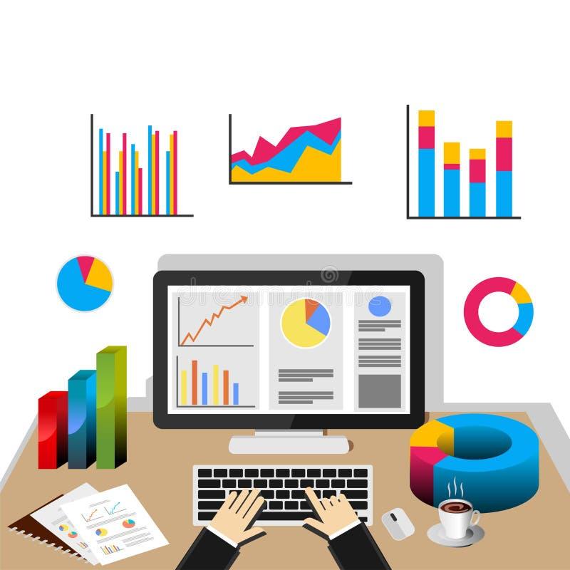 分析企业演变总额 经济情况统计概念 库存例证