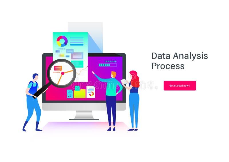 分析接近的数据手指裱糊铅笔视图妇女 企业例证JPG人向量 平的动画片微型例证向量图形 向量例证