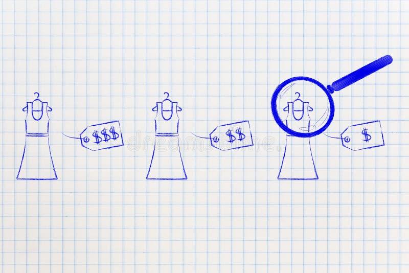 分析用不同的价牌的放大镜礼服 向量例证