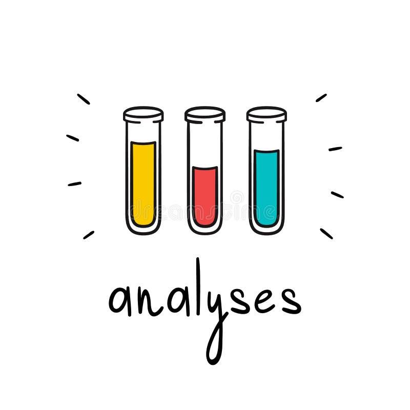 分析的向量管 血液,等离子,尿 手拉的样式玻璃小瓶 皇族释放例证